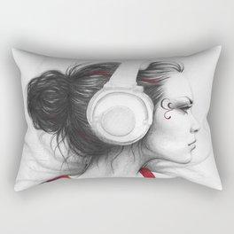 MUSIC Girl in Headphones Rectangular Pillow