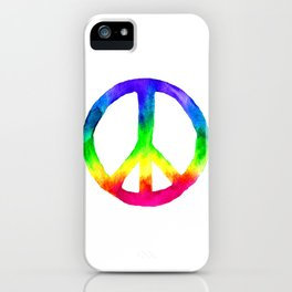 Rainbow Watercolor Peace Sign iPhone Case