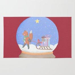 Fox Sled Gifts in Snow Globe Rug