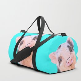 Baby Pig Turquoise Background Duffle Bag