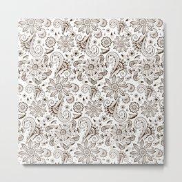 Mehndi or Henna Flowers Metal Print