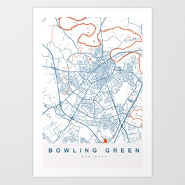 Bowling Green Map Kentucky | More Colors, Review My Collections Art Print