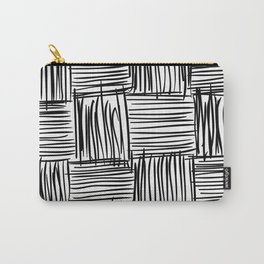 Modern Square Black on White Carry-All Pouch
