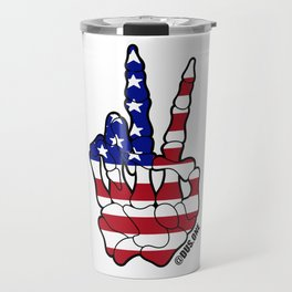 American Flag Skeleton Peace Sign Travel Mug