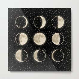 shiny moon phases on black / with stars Metal Print