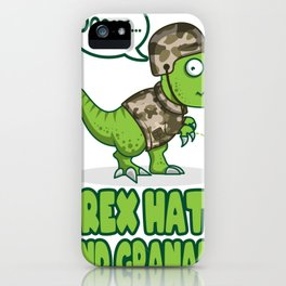 T Rex Hates Handgranades Military Gifts For Army iPhone Case