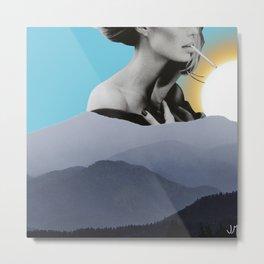 Over The Mountains - Smoking Woman Metal Print