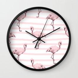 Flamingos on Drawn Stripes in Pink Flamingo Wall Clock