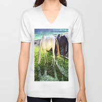 horses V-neck T-shirts featuring horses by  Agostino Lo Coco