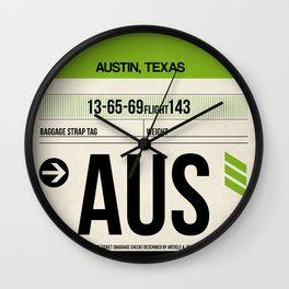 AUS Austin Luggage Tag 1 Wall Clock