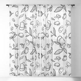 White & Black Botanical Sheer Curtain