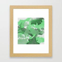 Green Splatters Watercolor Illustration - Patchy Camo Framed Art Print
