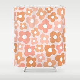 Peachy Pink Flower Power Shower Curtain