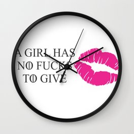 No fucks Wall Clock