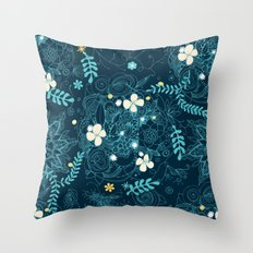 Dark floral delight Throw Pillow