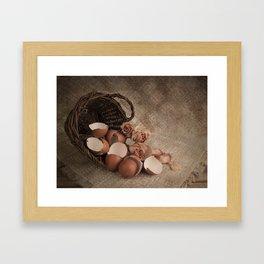 Basket with egg shells and roses Framed Art Print