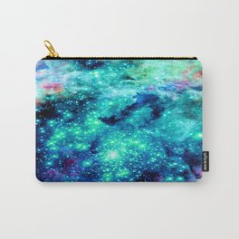 Colorful Teal Galaxy Sparkle Stars Carry-All Pouch