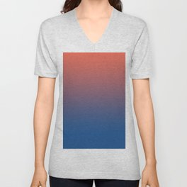 Pantone Living Coral & Turkish Sea Blue Gradient Ombre Blend Unisex V-Neck
