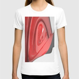 Red waving mathematical surface T-shirt
