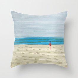 Swimmer on a Winter Beach Throw Pillow