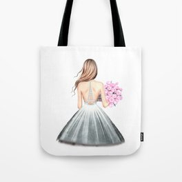 Paris print Fashion illustration Wedding dress art Paris theme Girls dorm art Eiffel wall art Romant Tote Bag