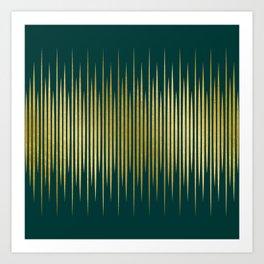 Linear Gold & Emerald Art Print