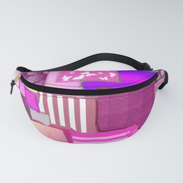 Pink Squares Patchwork Fabric Painting Fanny Pack
