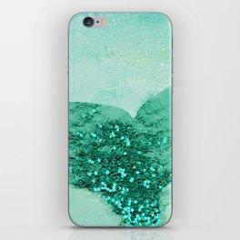 A Mermaid's Tail III, painterly coastal art, aqua metal iPhone Skin