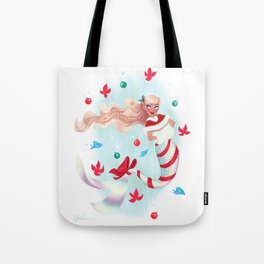 Holiday Mermaid Tote Bag