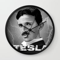 tesla Wall Clocks featuring Nikola Tesla by San Fernandez