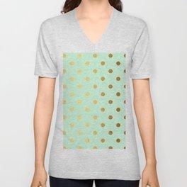 Gold polka dots on mint background - Luxury pattern Unisex V-Neck
