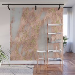 Rose Gold Marble with Yellow Gold Glitter Wall Mural