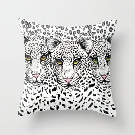 THREE SNOW LEOPARDS Throw Pillow