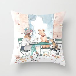 Coffee With Friends Throw Pillow