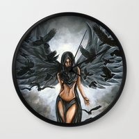 dramatical murder Wall Clocks featuring Lady Murder by Megan Mars