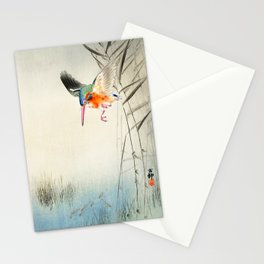 Kingfisher diving for fish - Vintage Japanese Woodblock Print  Stationery Cards