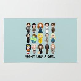 Kokeshis Fight like a girl Rug