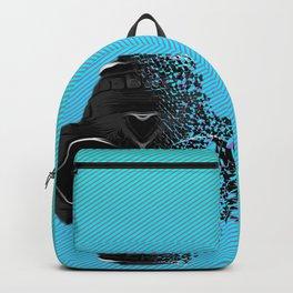 fractal black skull portrait with blue abstract background Backpack