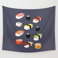 sushi Wall Tapestries featuring Sushi by Skrich