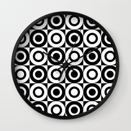 Mid Century Square and Circle Pattern 541 Black and White Wall Clock