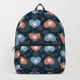 Blue and Peach Hearts and Paw Prints Pattern Backpack
