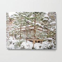 Japanese Temple in Winter Metal Print