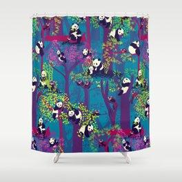 Both Species of Panda - Blue Shower Curtain