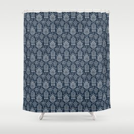 Cuckoo Clocks on Blue Shower Curtain
