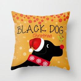 Black Dog Christmas Throw Pillow