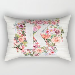 Initial Letter K Watercolor Flower Rectangular Pillow