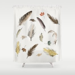 inner nature (feathers and leaves Shower Curtain