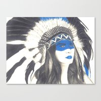 headdress Canvas Prints featuring Headdress by TheAngelKid