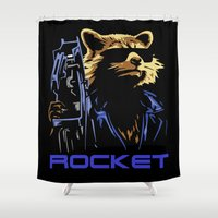 rocket Shower Curtains featuring Rocket by offbeatzombie