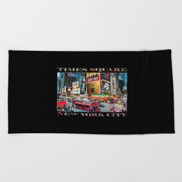 Times Square II (widescreen on black) Beach Towel